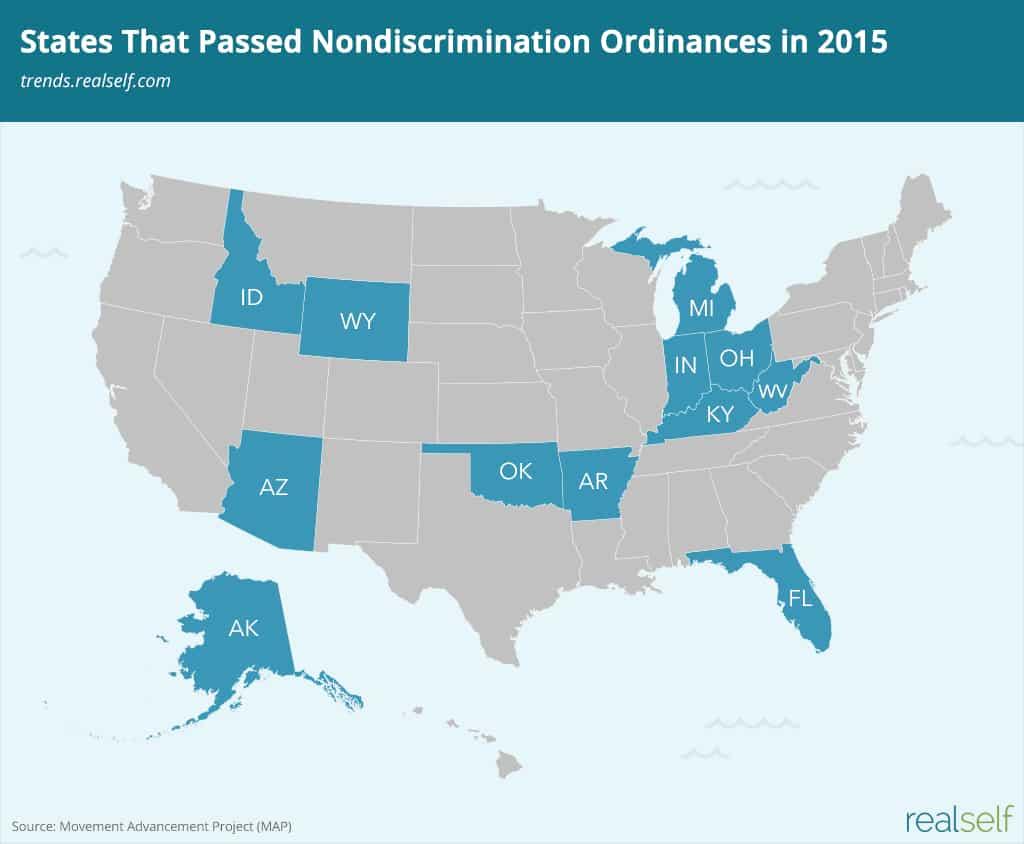 States That Passed Nondiscrimination Ordinances in 2015