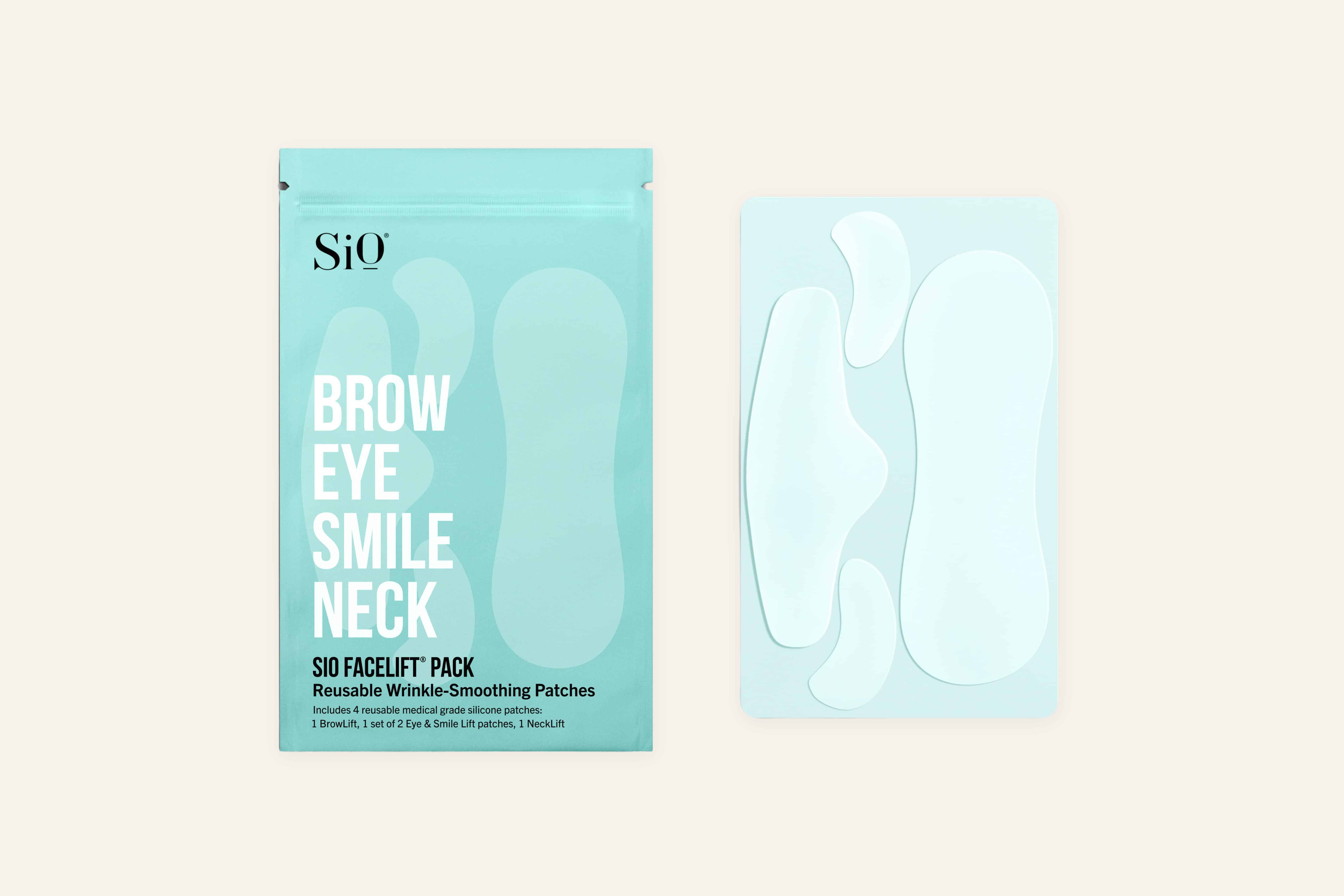 SiO patches are made of a medical-grade silicone that flattens the skin and prevents muscle movement to minimize the look of fine lines and wrinkles.